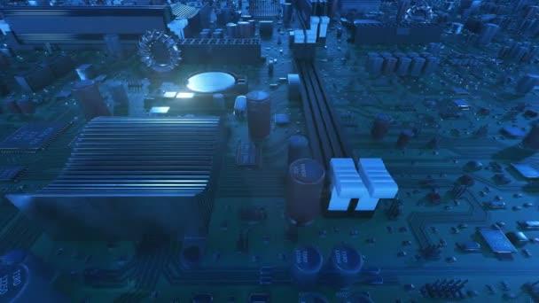 fliegt mit Eiter und Fackeln über die Hauptplatine. geloopte 3D-Animation der Leiterplatte mit Prozessoren und Fackeln. Technologie und digitales Konzept. 4k uhd 3840x2160.
