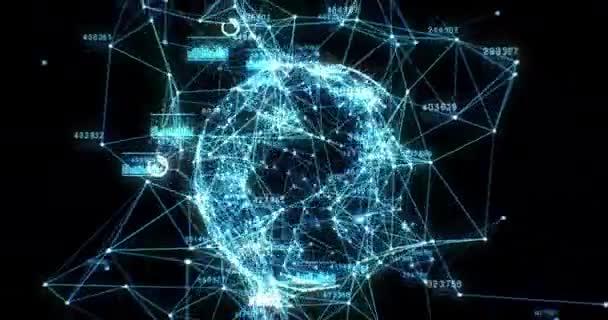 Gyönyörű kék hologram Lassú mozgás Futurisztikus technológiai gömb elemző adatok. Üzleti és technológiai koncepció 4K UHD 4096x2160 3d Animáció.
