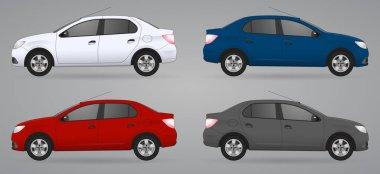 Set of different color car, realistic car models