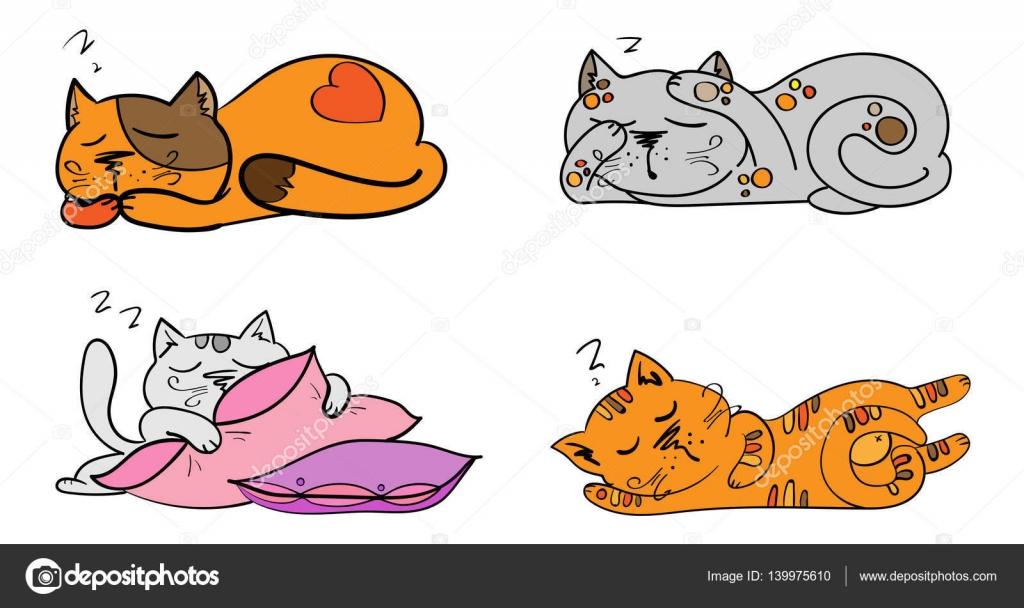 Vektor Set Von Cartoon Bilder Nette Andere Katzen Farbe Mit
