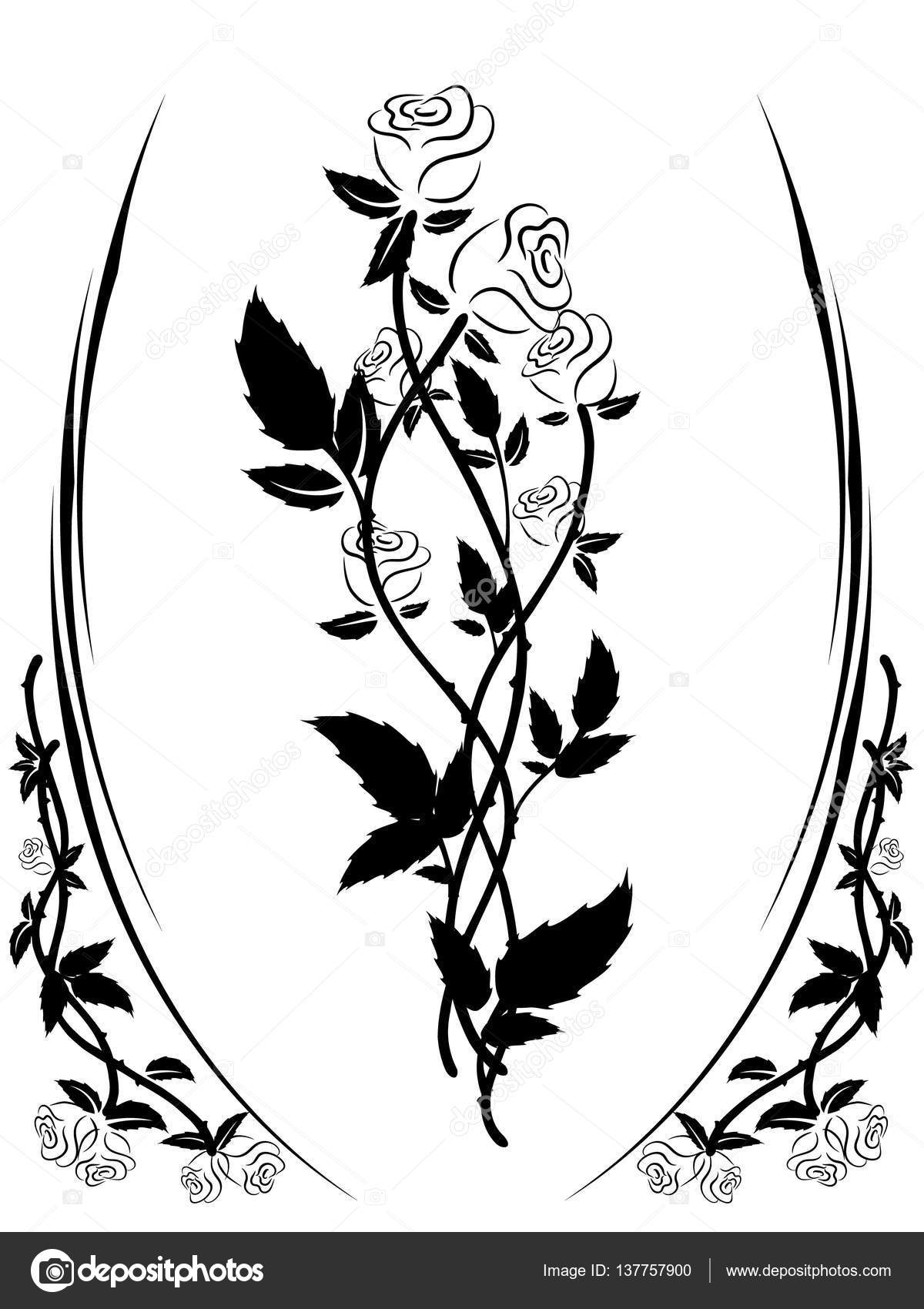 Black And White Roses Silhouette In A Frame Of Roses Stock Vector