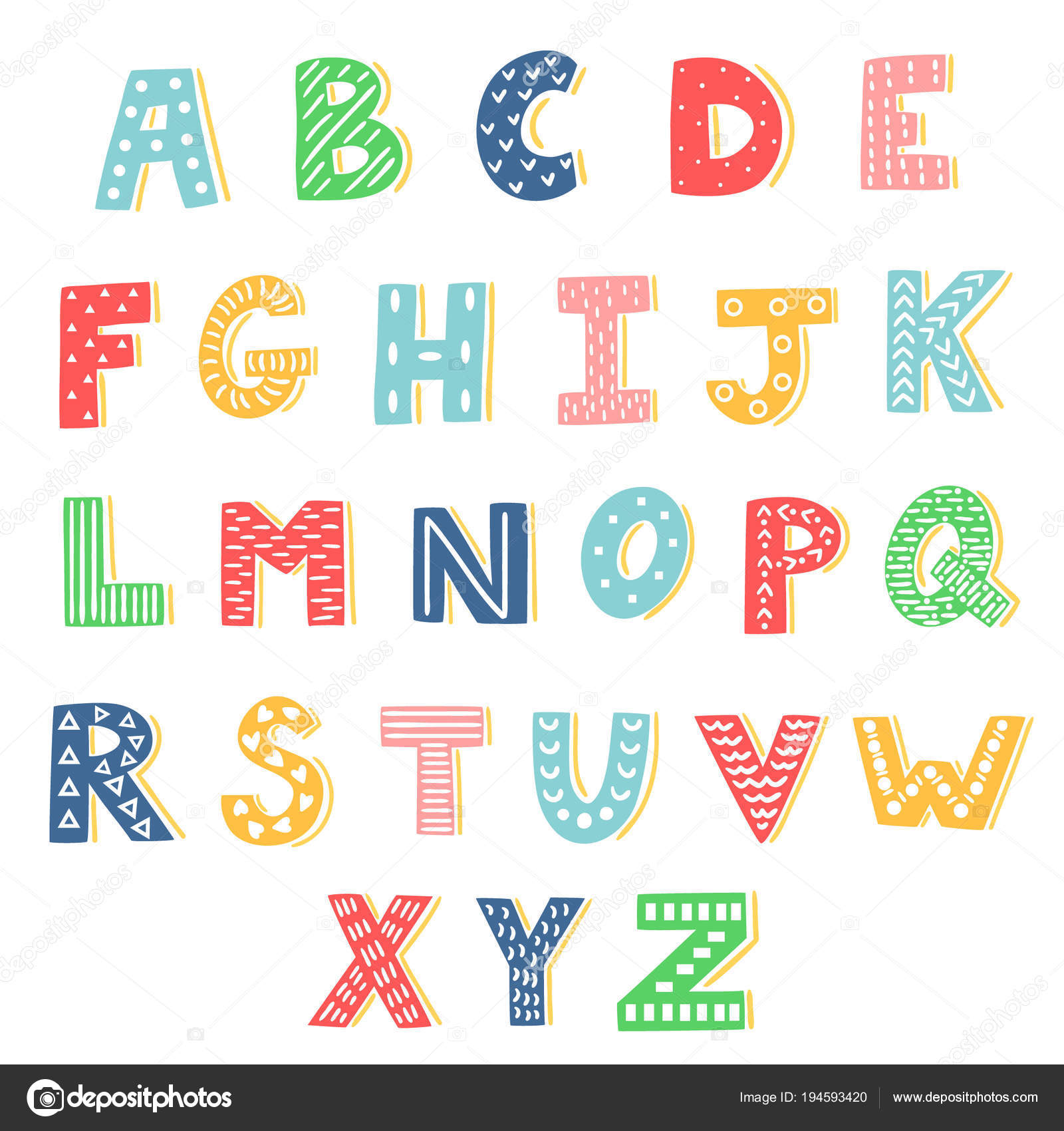 Vector Set Of Bright Different Letters Stylish Abc Retro