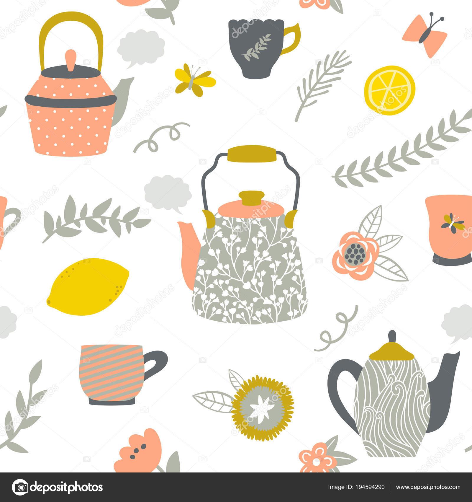 Patrón transparente de vector con teteras, tazas, limón, flores ...