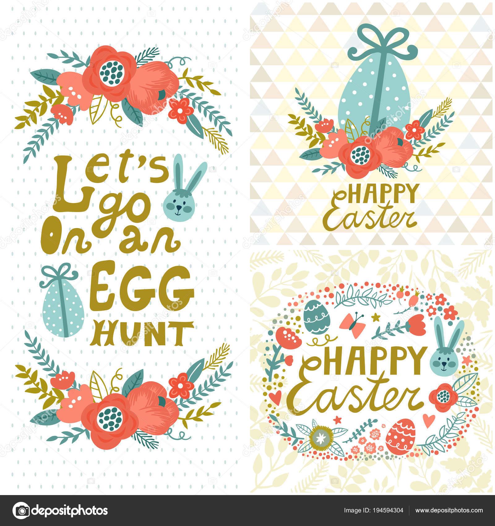 Conjunto vintage de Pascua. Fondos florales con conejo, huevos ...