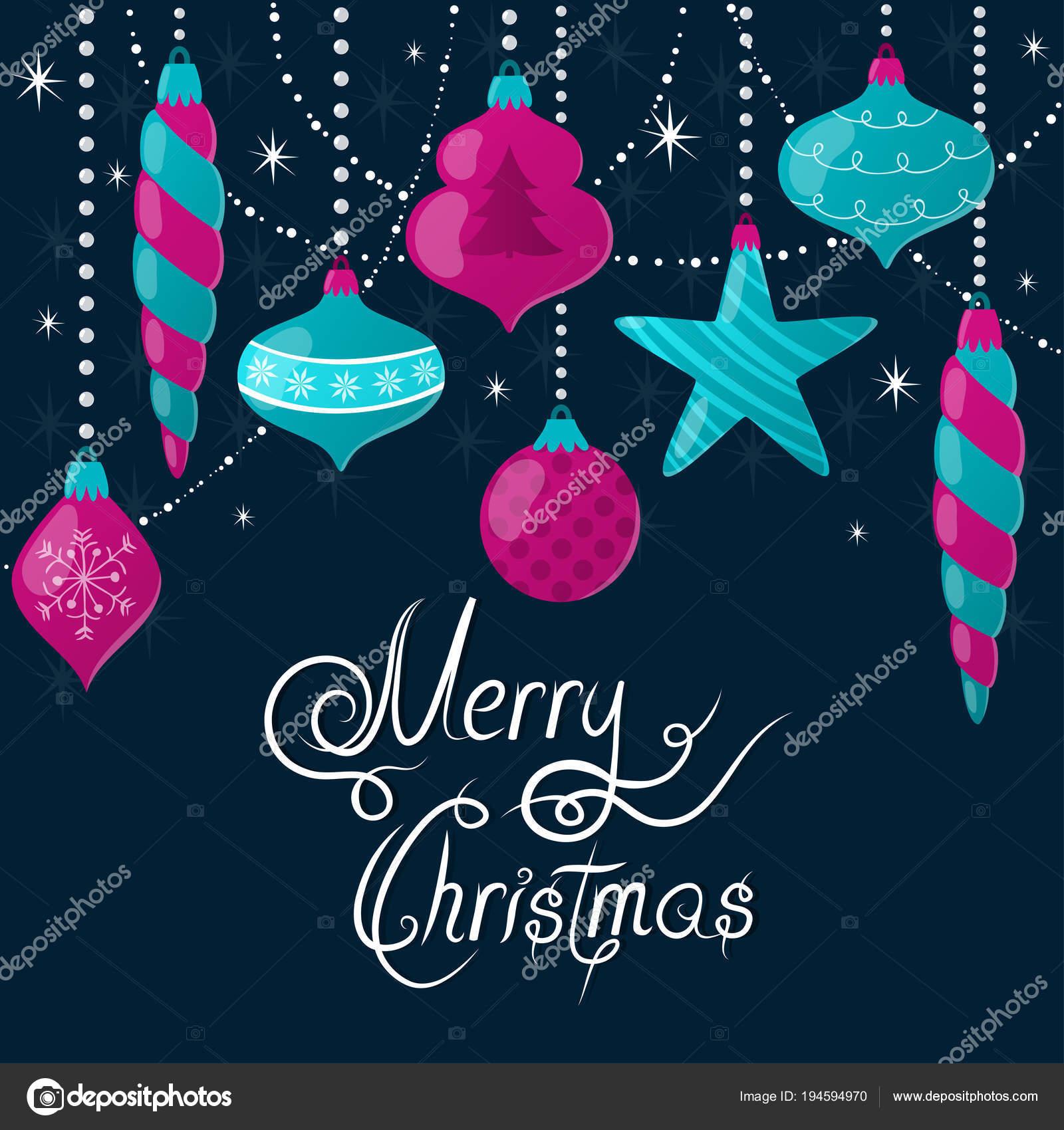 Auguri Di Natale Bellissimi.Priorita Bassa Di Festa Di Vettore Con Vetro Di Natale Ornamenti