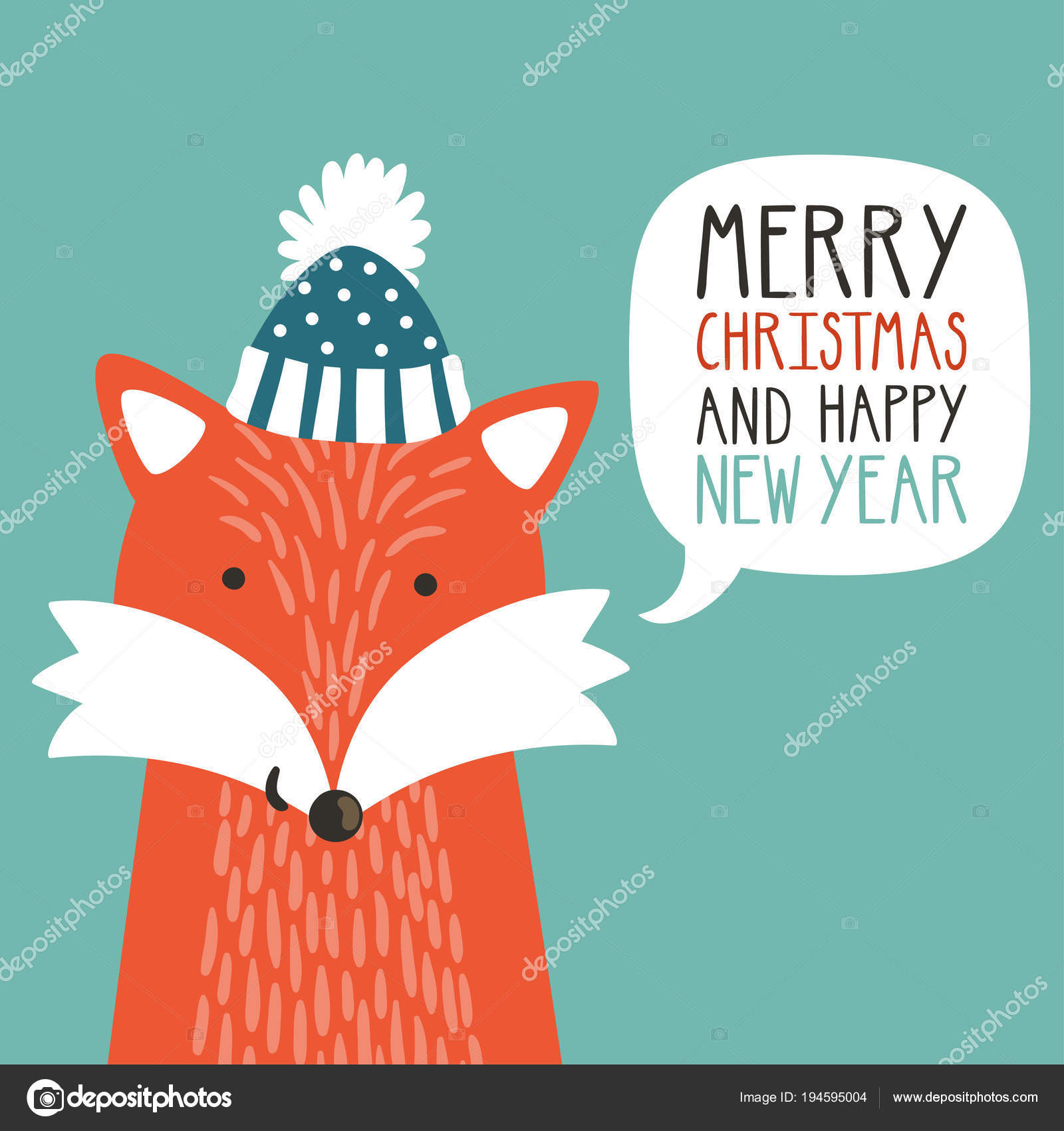 vector holiday illustration of a cute fox in a hat saying merry christmas and happy new year christmas background with smiling cartoon character