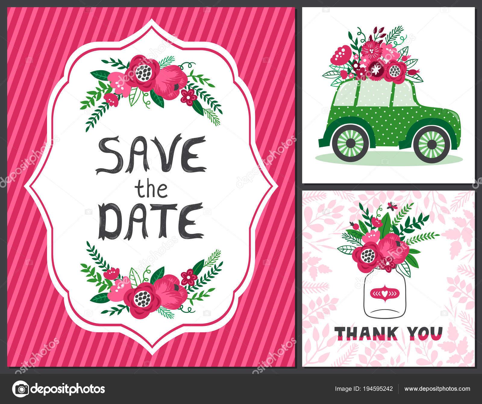 Vektor Reihe Von Hochzeitskarte Einladung Vorlage Mit Schonen