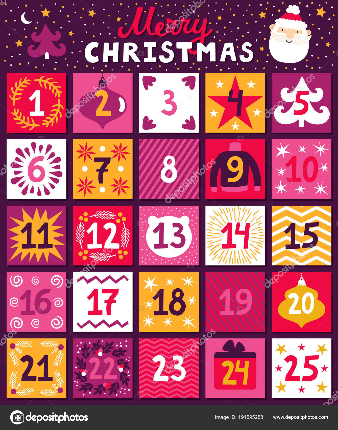 Christmas Advent Calendar Bright Holiday Countdown In Cartoon Style