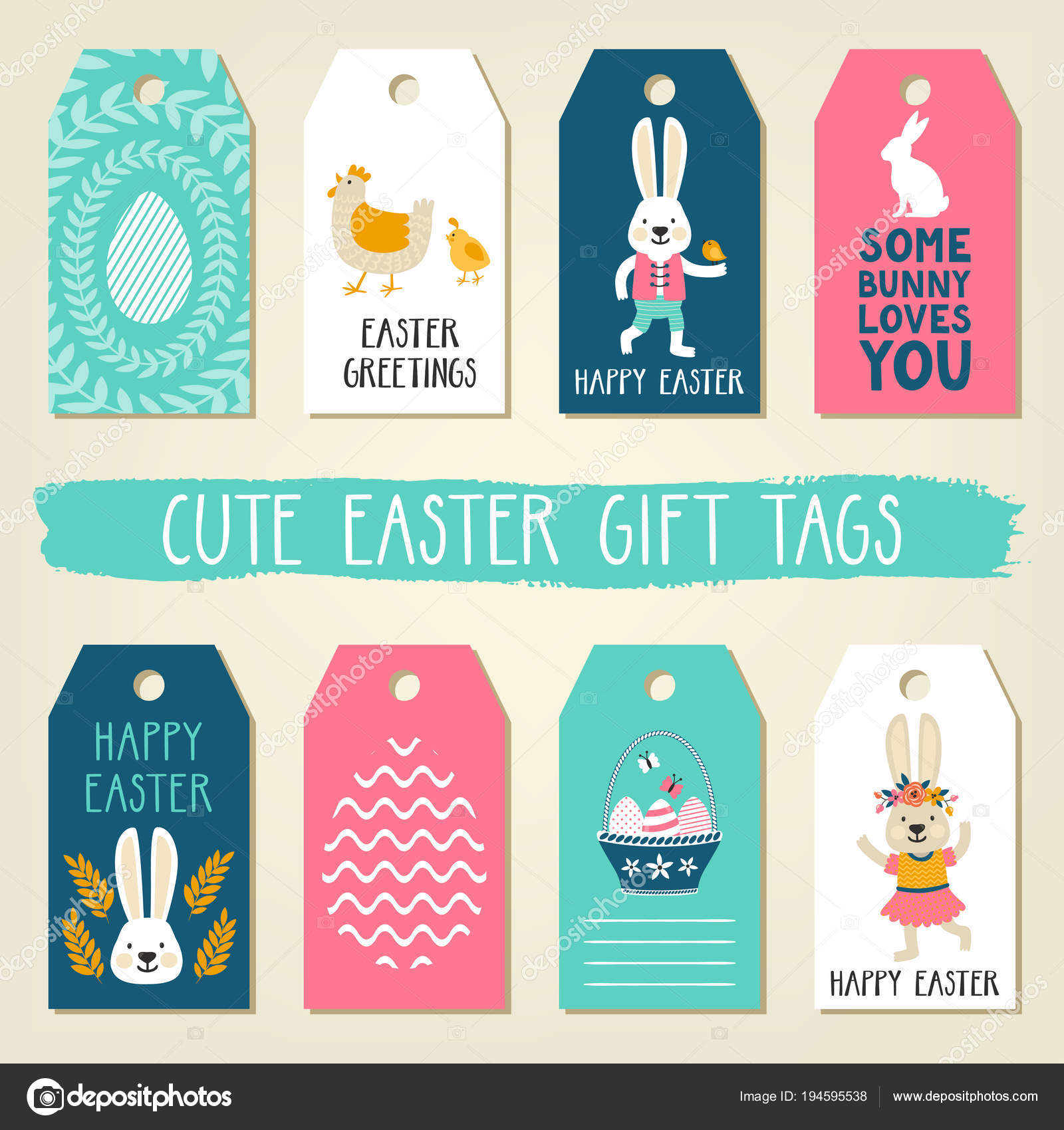 Easter gift tags with cute easter bunny chicken basket with eggs easter gift tags with cute easter bunny chicken basket with eggs and easter greetings negle Choice Image