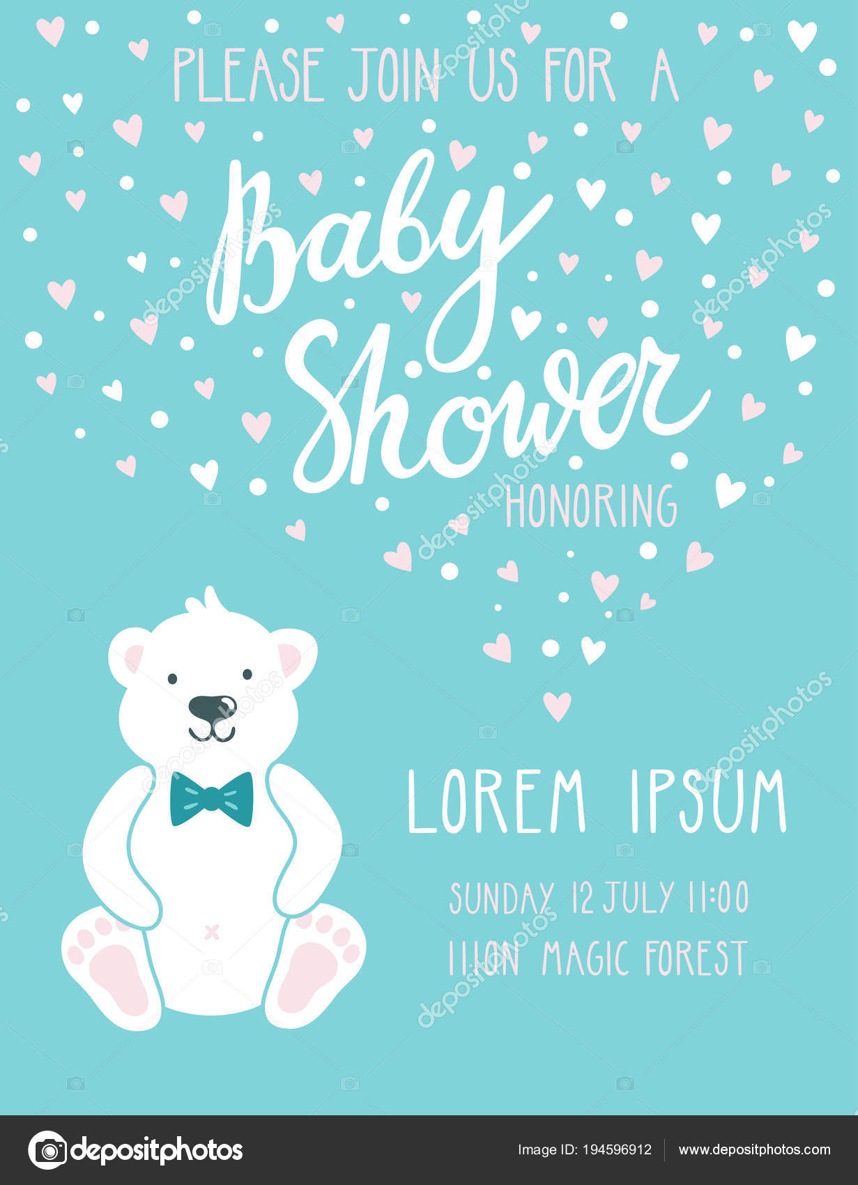 Baby Shower Invitation Card Cute Childish Background With