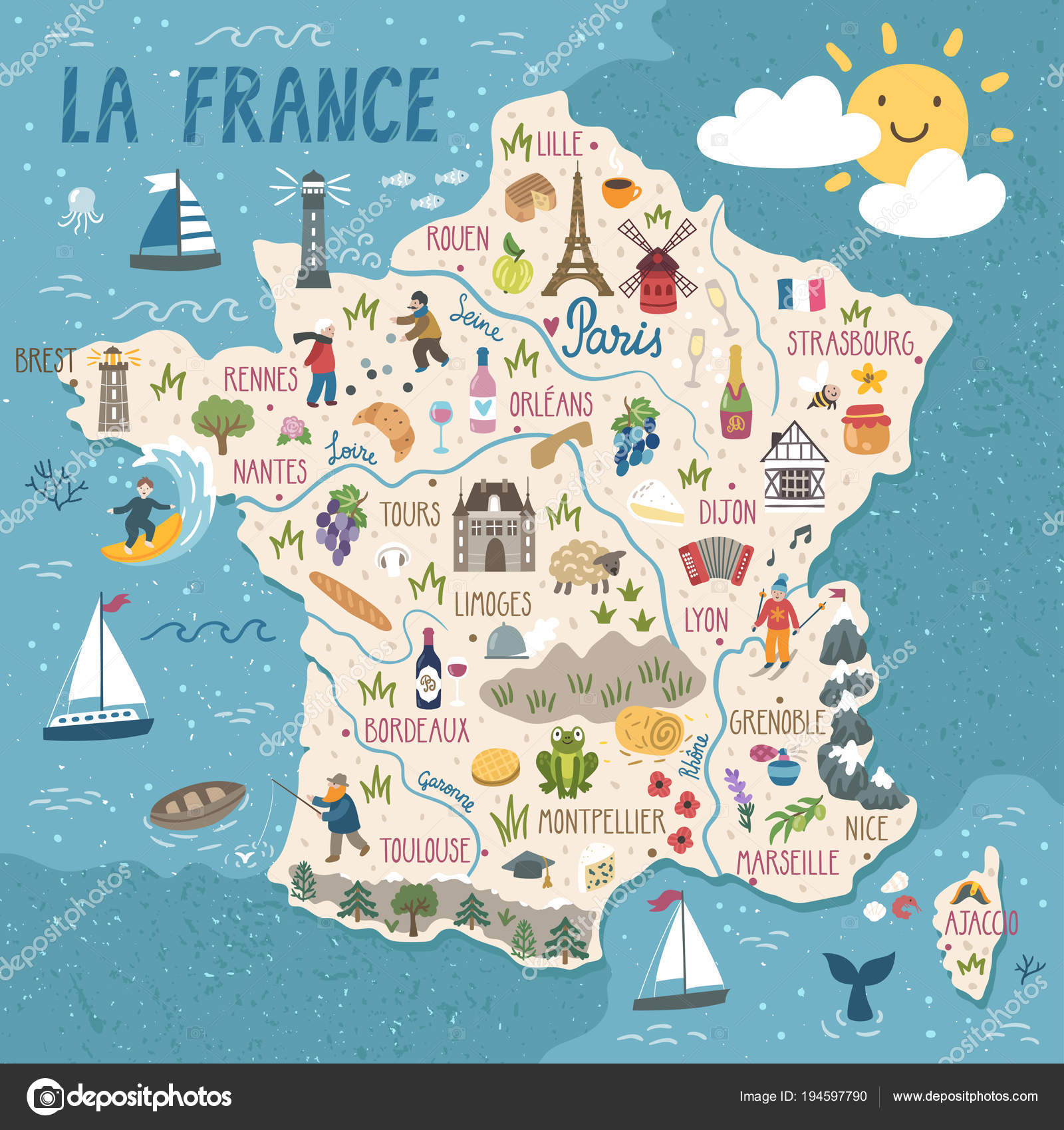 Map Of France In French.Vector Stylized Map Of France Travel Illustration With French