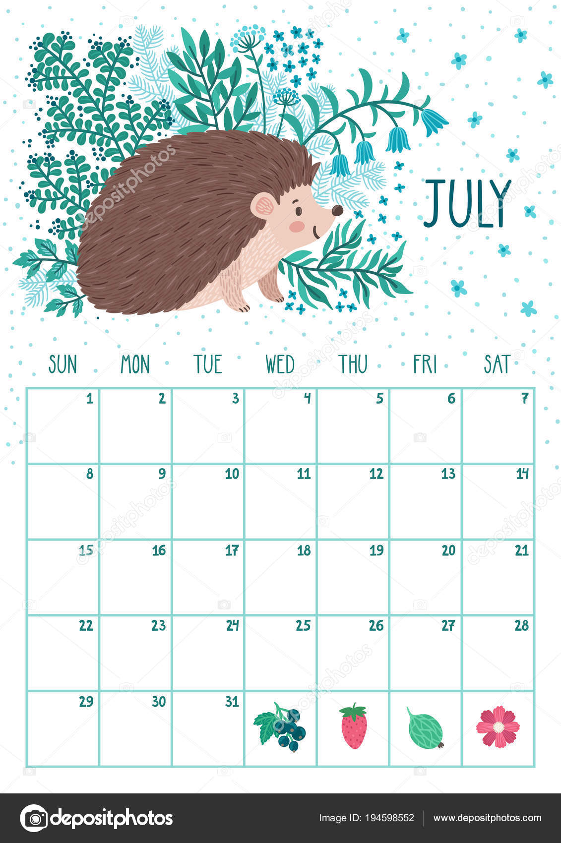 vector monthly calendar with cute hedgehog july 2018 planning