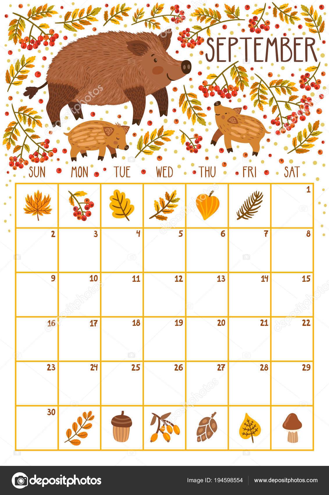 Vektor měsíční kalendář s roztomilý kance a dva kanci děti ...