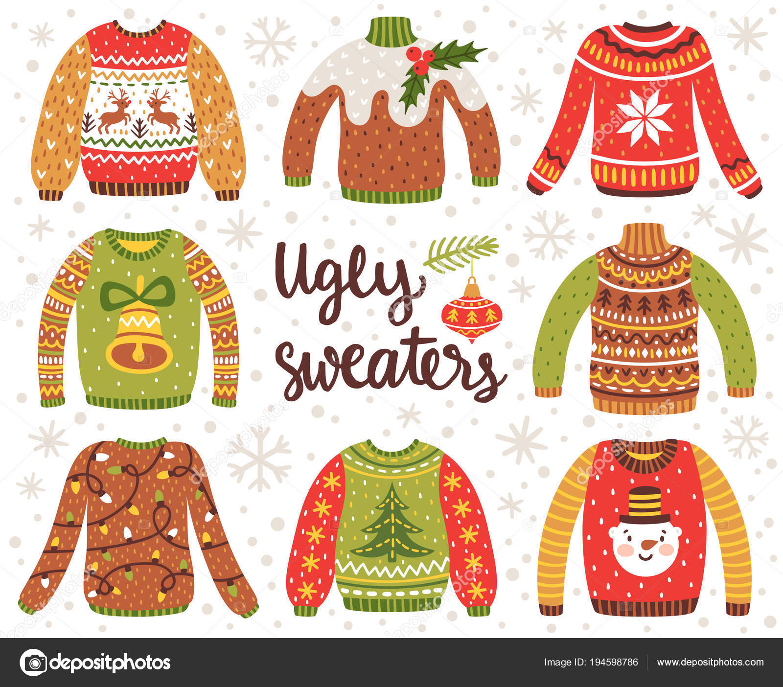 Vector set of ugly Christmas sweaters with norwegian ornaments and holidays decorations. Collection of knitted