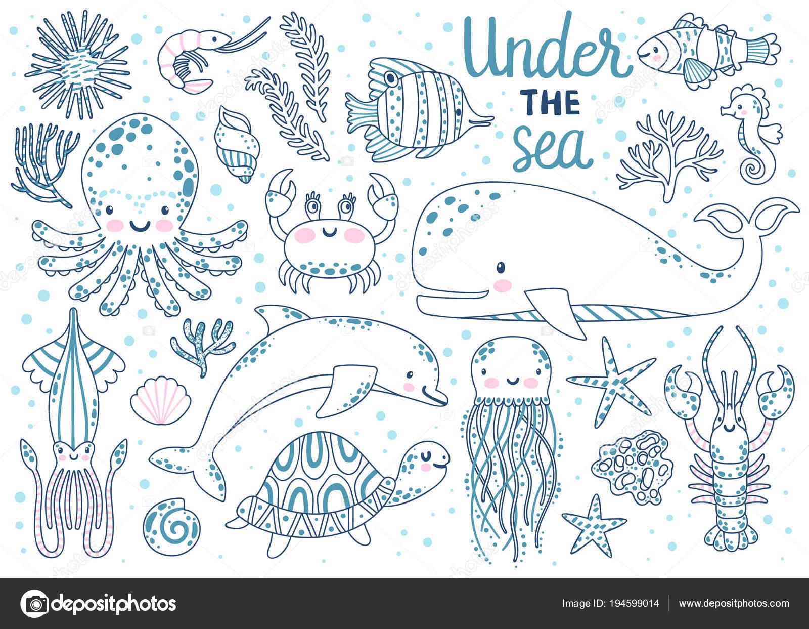 Página para colorear de los niños. Vector conjunto de animales bajo ...