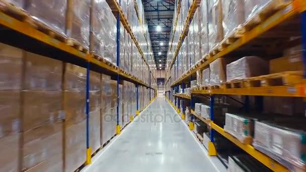 Aerial Footage Forklift Trucks Loads In The Rack Inside warehouse