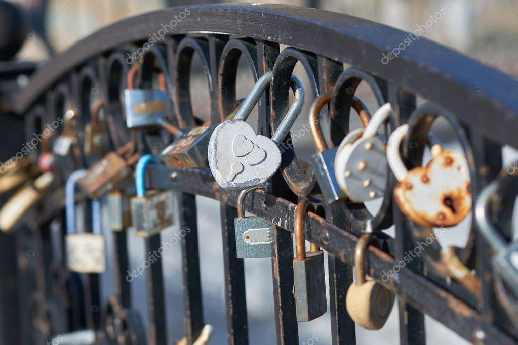 Iron railings with wedding locks