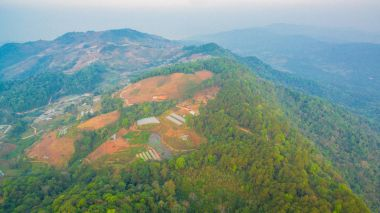 aerial photography on hilltop of Mon Jam Mae Rim Chiang Mai Thai