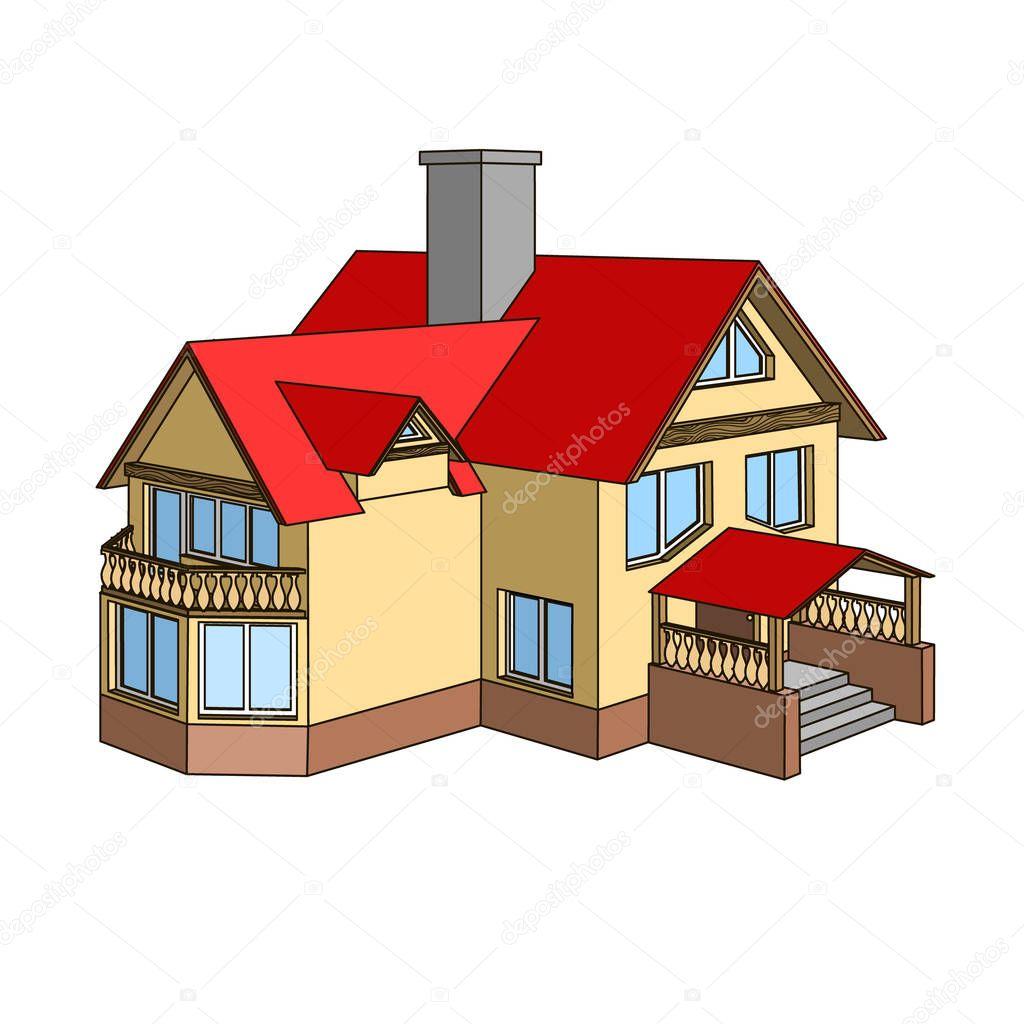 casa de dibujos animados con un techo a dos aguas vector
