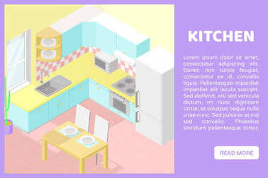 Vector isometric low poly cutaway interior illustartion. Kitchen. Banner for a web site