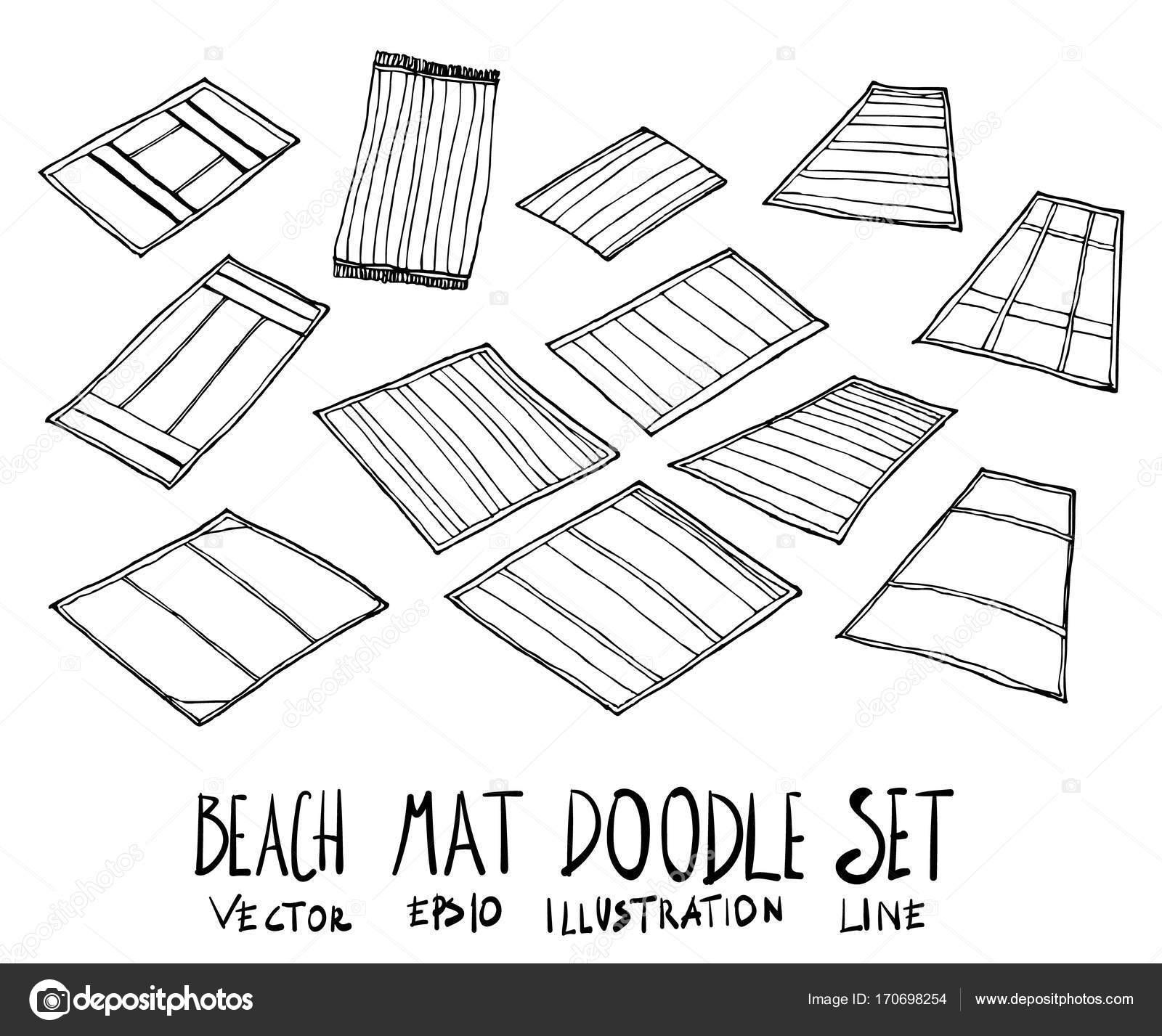 Conjunto de ilustración dibujados a mano de la estera de la playa ...