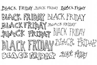 Hand drawn Black Friday text isolated. Vector sketch black and white illustration icon doodle