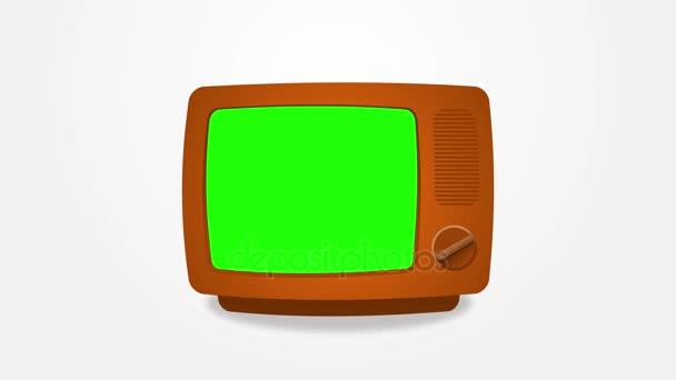 Régi zöld képernyős Tv. Animáció. 4k 3840 x 2160