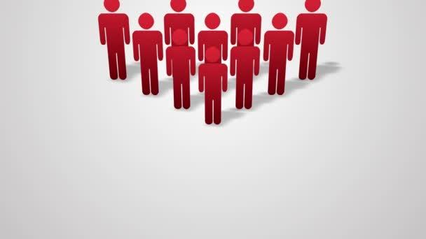 eine Menschenmenge Animation. Rot-Grün. Desinfektion