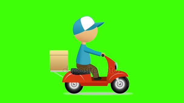 Zásilková služba. Muž jezdecké skútr s dodání box. Zelená obrazovka. 4k video
