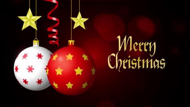 Buon Natale Video.Buon Natale Palle Stelle E Serpentine Su Fondo Nero Con Bokeh 4k