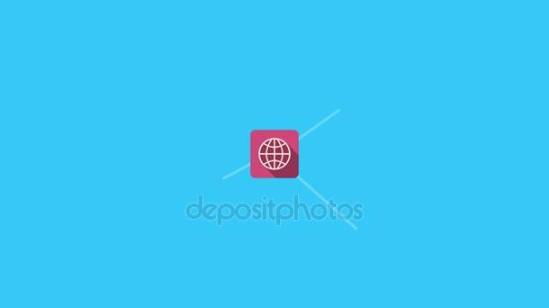 digitale blaue Schnittstelle mit Symbolen und Links, die über die Diagramme und Diagramme wachsen