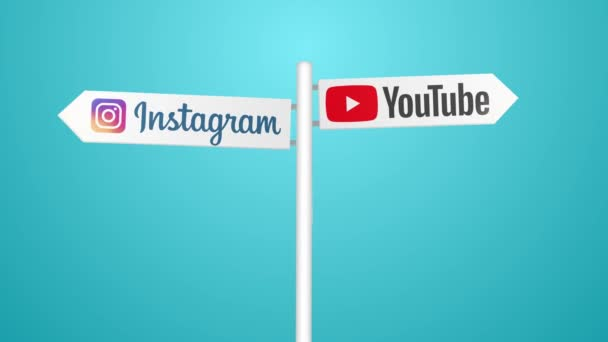Sociální sítě ikony ve znamení cestování. 4k