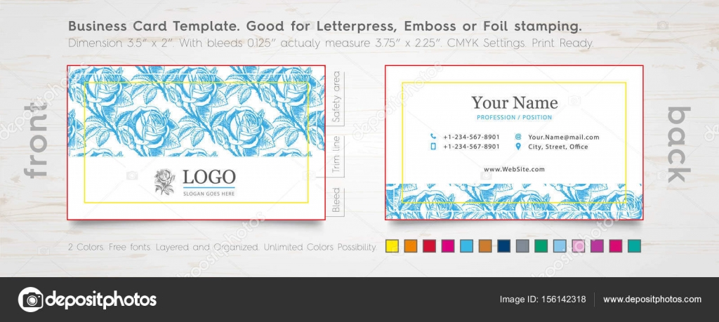 Personal Business Card Design Template. Engraved Rose. — Stock ...