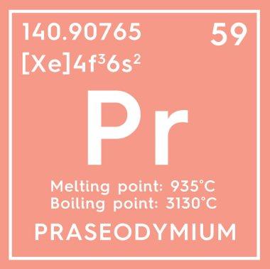 Praseodymium. Lanthanoids. Chemical Element of Mendeleev's Periodic Table.