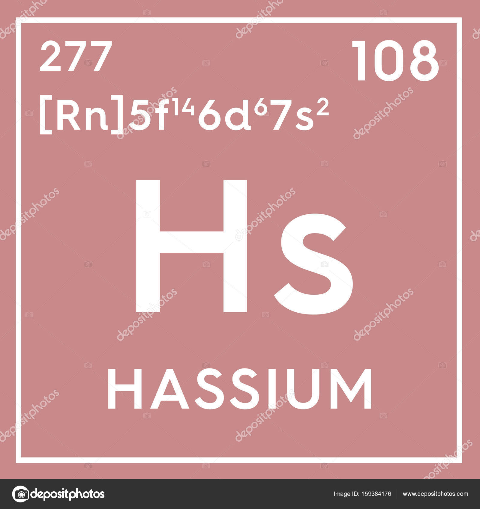 Hassium transition metals chemical element of mendeleevs chemical element of mendeleevs periodic table hassium in square cube creative concept photo by sanches812 gamestrikefo Images