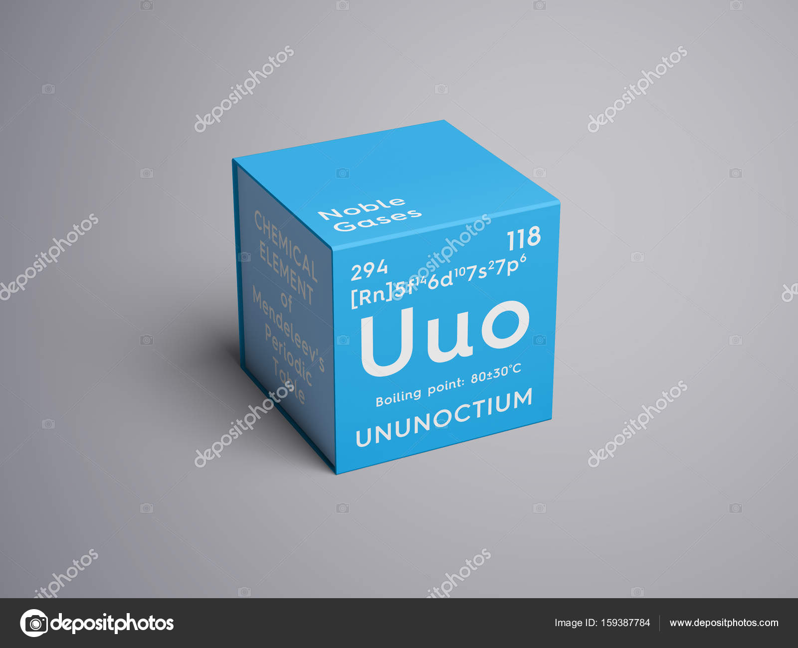 Ununoctium noble gases chemical element of mendeleevs periodic ununoctium noble gases chemical element of mendeleevs periodic table ununoctium in square cube creative concept photo by sanches812 urtaz Images