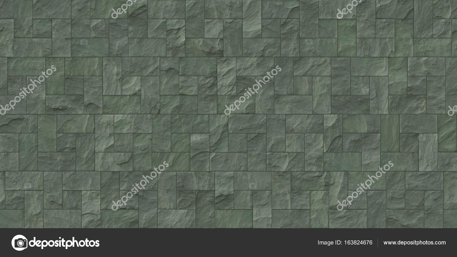 Moss Seamless Stone Cladding Texture Stock Photo