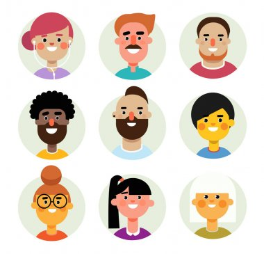 Set of vector avatars icons men and women