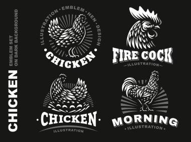 Set chicken emblem on dark background