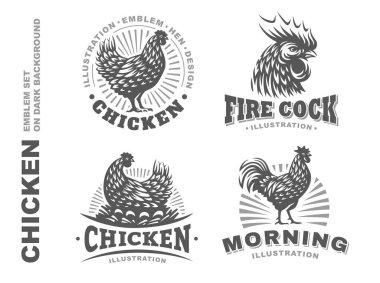 Set chicken emblem on white background