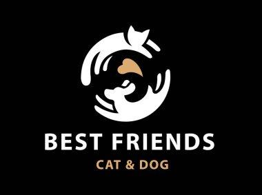 Cat and dog friends emblem, logo