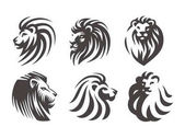 Lví hlava logo - vektorové ilustrace, znak design