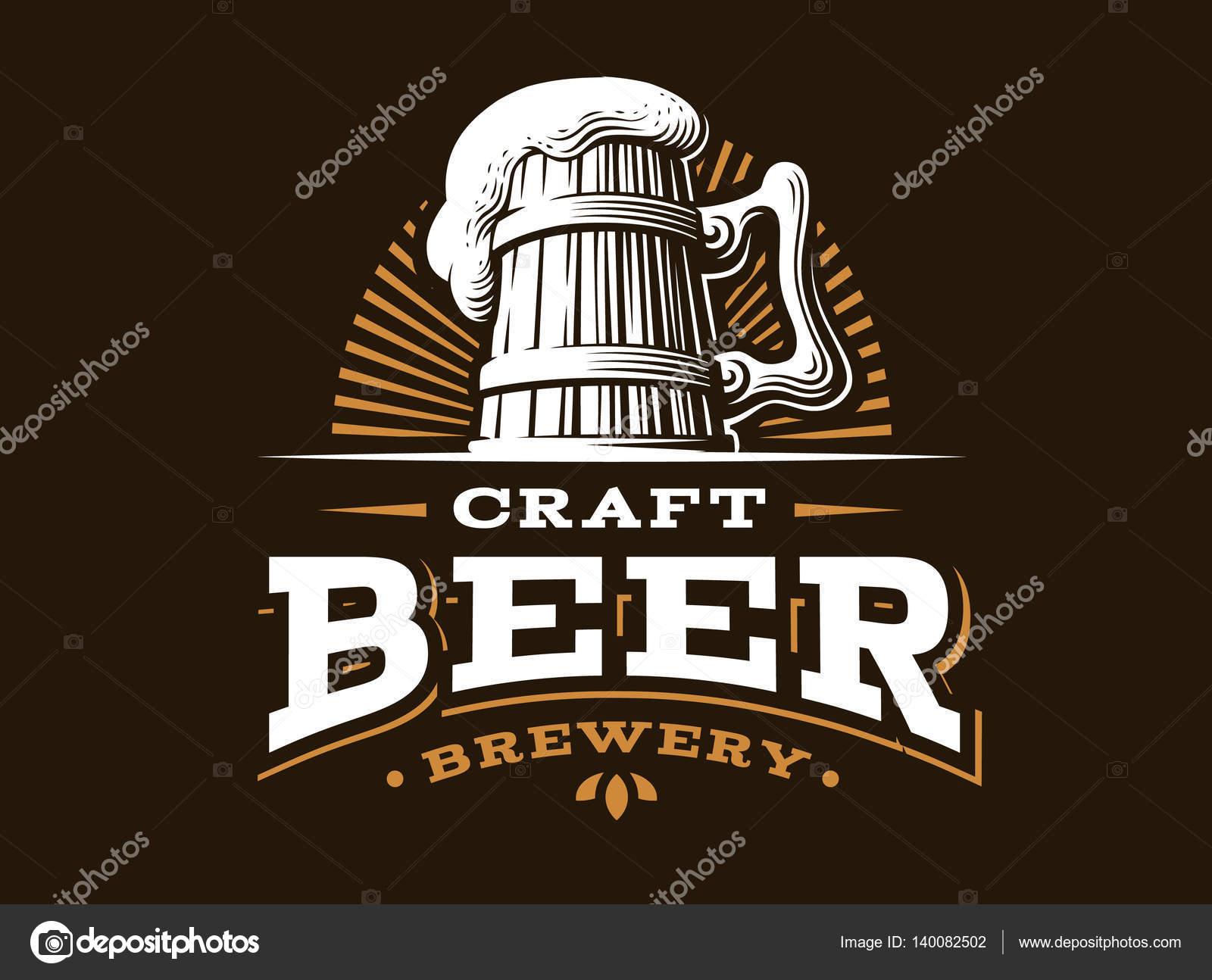 Craft Beer Logo Vector Illustration Emblem Brewery Design Stock