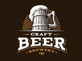 Craft beer logo vektorové ilustrace, design pivovaru emblém