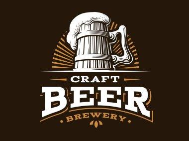 Craft beer logo- vector illustration, emblem brewery design