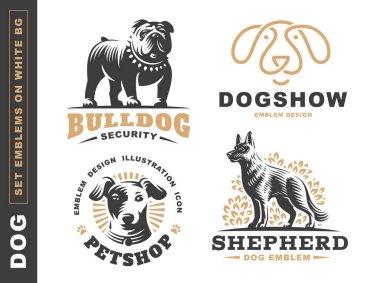 Set logo illustration dog, pet emblem on white background