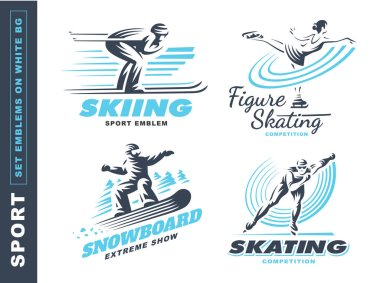Winter sport logo set - vector illustration, emblem on white background