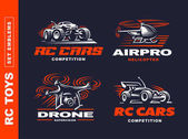 rc toys transport logo set - vektorabbildung, emblem auf schwarzem hintergrund