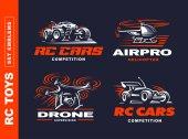 Rc Spielzeug Transport Logo-Set - Vektor-Illustration, Emblem auf schwarzem Hintergrund