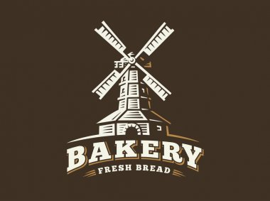 Windmill logo - vector illustration. Bakery emblem on dark background